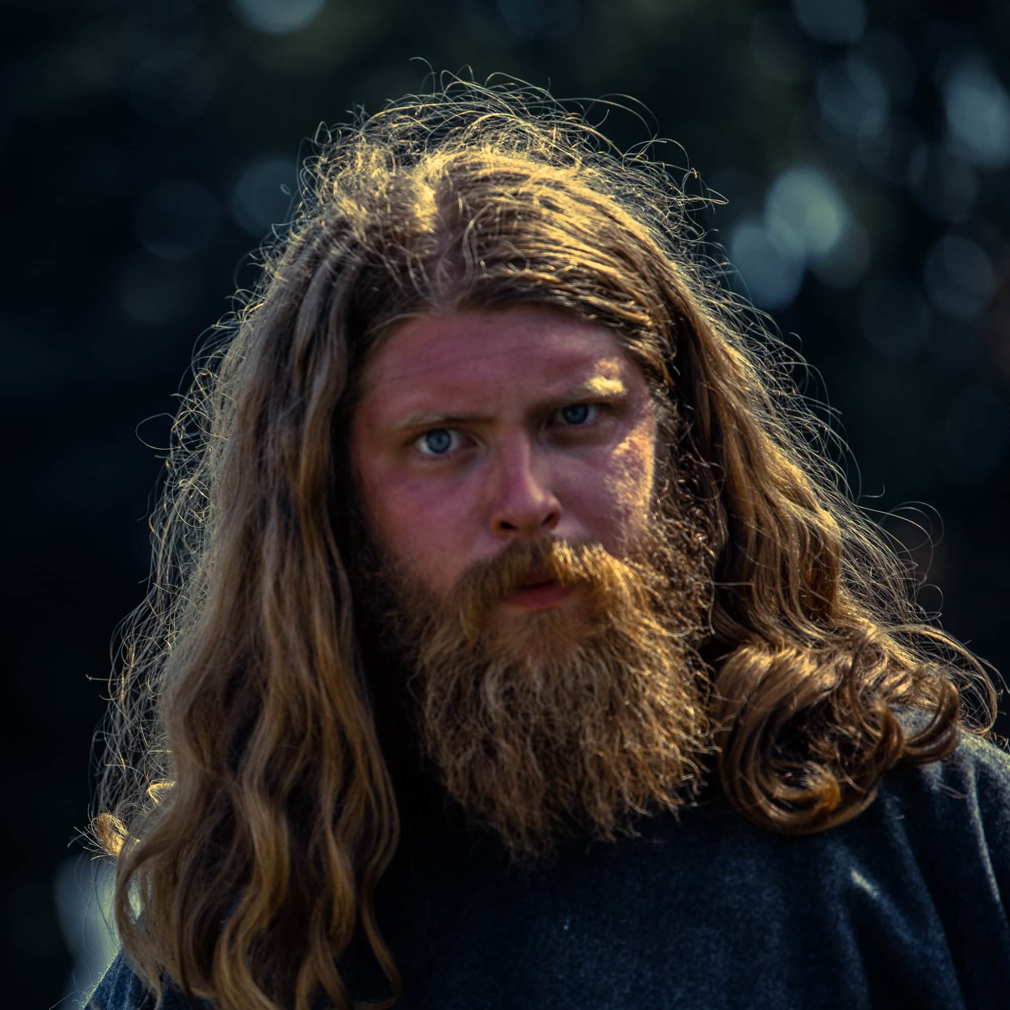 This image shows a viking with long hair and beard, staring intensely at you, so contact us!