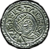 Coin of Aethelstan, King of England. Obverse shows a profile picture.
